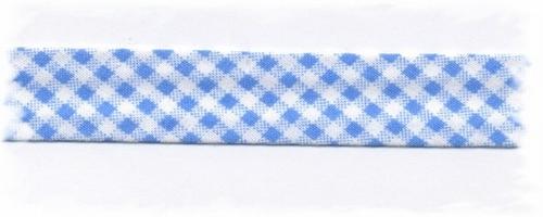 Bias-band - ruitje blauw  2 cm