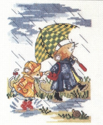 A - Kit skipping in the rain  18 x 13 cm