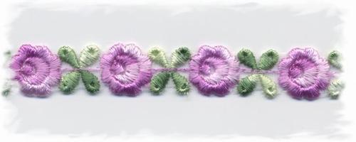 katoenenband - paars/groen bloemetje