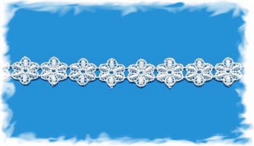 katoenenband - roomwit bloemetje