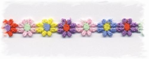 katoenenband - meerkleurig bloemetje, klein  1 cm