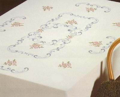 Tafellaken - Bloem, paars-rose  130 x 160 cm