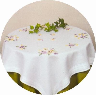 Tafelkleedje - Bloem lila-geel  80 x 80 cm