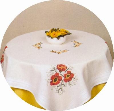 Tafelkleedje - Anemoon rood-geel  80 x 80 cm