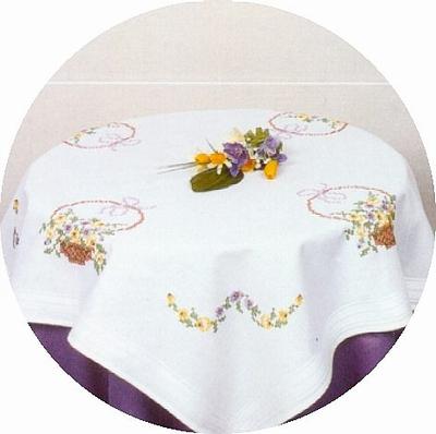 Tafelkleedje - Bloemenmandje  80 x 80 cm