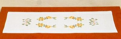 Tafelloper - Bloem geel-lila  40 x 100 cm