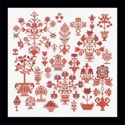 Merklap - antieke bloemmotieven  33,5 x 33,5 cm
