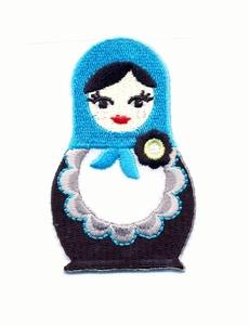 Folkore - Matroesjka blauw  7 x 4,3 cm