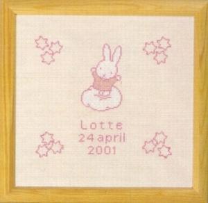 Geboortetegel - rose  33 x 32 cm