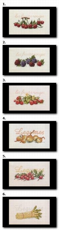 Fruit en groente - per 6 stuks  29 x 20 cm