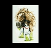Buitenleven - Paard & Jack Russel 37 x 47 cm