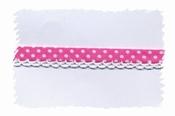 biasband met kantje - rose met wit stipje 2 cm