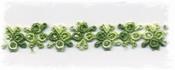 katoenenband - groen bloemetje