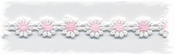 katoenenband - wit/rose bloemetje