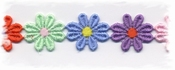 katoenenband - meerkleurig bloemetje, groot 2,5 cm