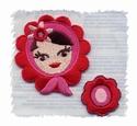 Folkore - Matroesjka rood bloem 5 x 4,7 cm