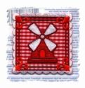 Hollands Glorie - Molen - rood ruitje 6 x 5 cm