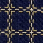 Handwerkstof - beiersbont - marine blauw/beige 1,60 cm breed